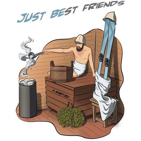 Экстремальная футболка - Горнолыжник с другом в бане - коллекция комикс от X-shirt.ru