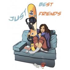 Девушка и сноуборд смотрят ТВ