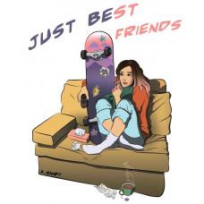 Девушка и скейт смотрят ТВ