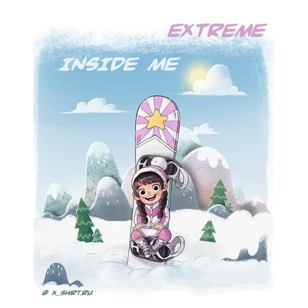 Экстремальная футболка - Экстремалка сноубордистка внутри меня - коллекция комикс от X-shirt.ru