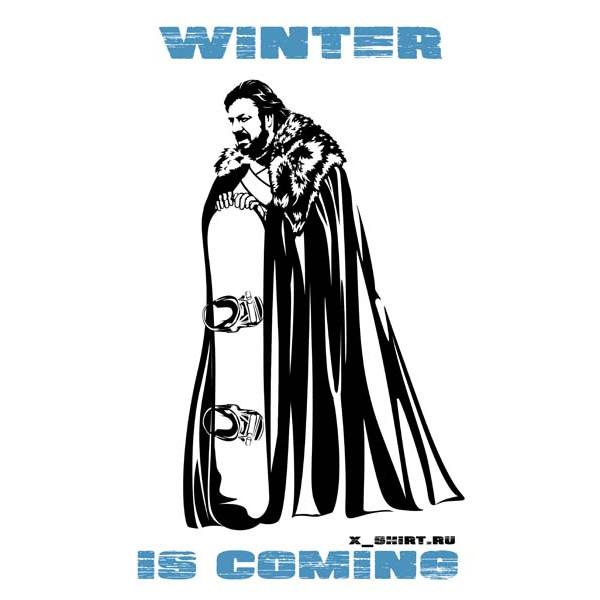 Экстремальная футболка - Старк и сноуборд - зима близко - коллекция мемы от X-shirt.ru