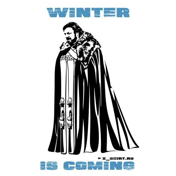 Экстремальная футболка - Старк и горные лыжи - зима близко - коллекция мемы от X-shirt.ru