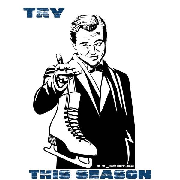 Экстремальная футболка - ДиКаприо и ледовый конек - коллекция мемы от X-shirt.ru