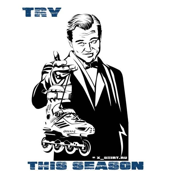Экстремальная футболка - ДиКаприо и ролики - коллекция мемы от X-shirt.ru