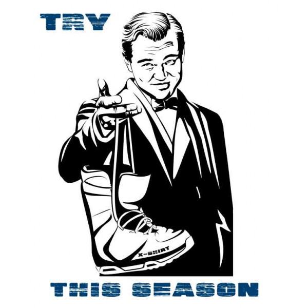 Экстремальная футболка - ДиКаприо и ботинок для сноуборда - коллекция мемы от X-shirt.ru