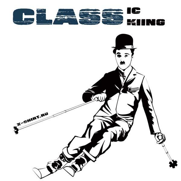 Экстремальная футболка - Чарли Чаплин на горных лыжах - коллекция мемы от X-shirt.ru