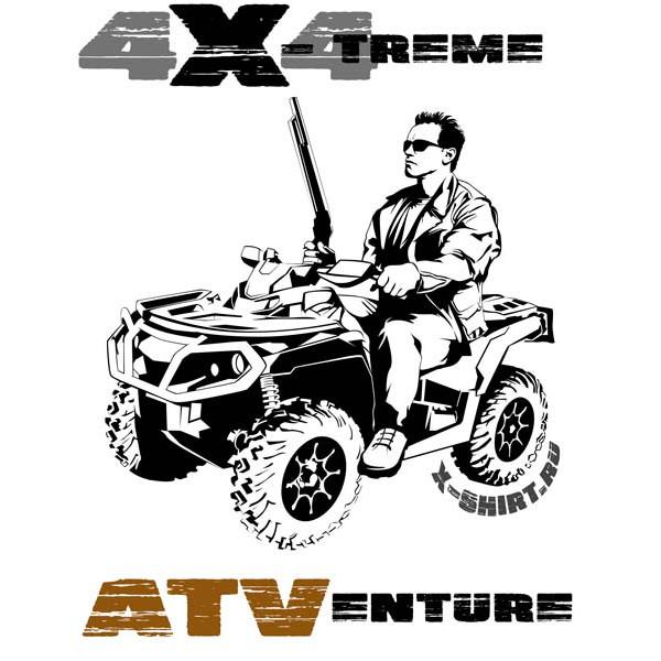 Экстремальная футболка - Терминатор на квадроцикле - коллекция мемы от X-shirt.ru