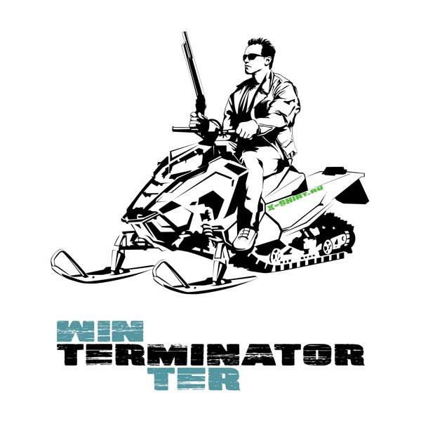 Экстремальная футболка - Терминатор на снегоходе - коллекция мемы от X-shirt.ru