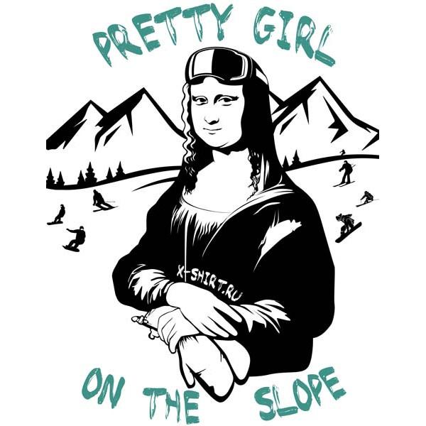 Экстремальная футболка - Красотка на горнолыжном склоне - коллекция мемы от X-shirt.ru