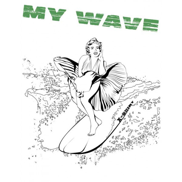Экстремальная футболка - Мэрилин Монро на серфе - коллекция мемы от X-shirt.ru