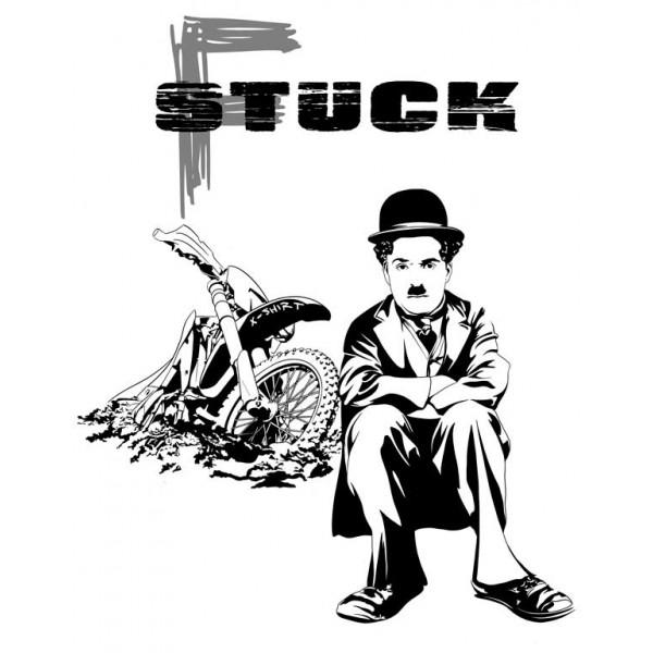 Экстремальная футболка - Чарли Чаплин застрял на мотоцикле - коллекция мемы от X-shirt.ru