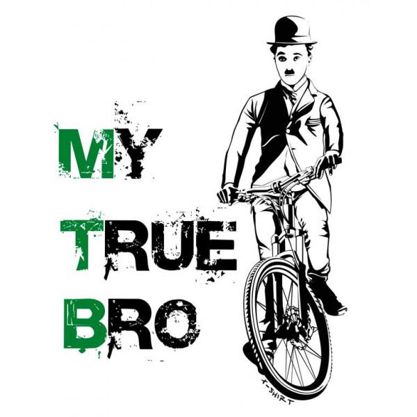 Экстремальная футболка - Чарли Чаплин на велосипеде - коллекция мемы от X-shirt.ru