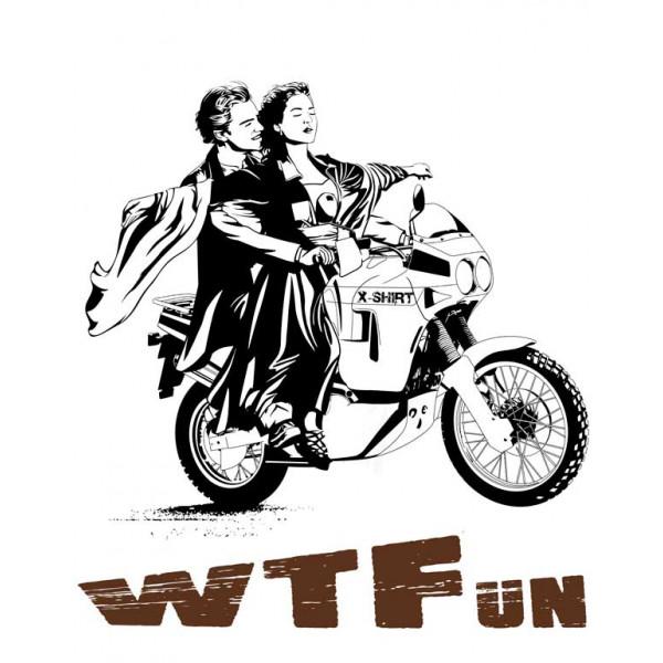 Экстремальная футболка - WTFun на мотоцикле - коллекция мемы от X-shirt.ru