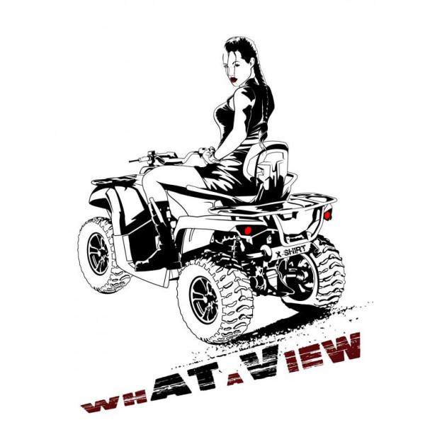 Экстремальная футболка - Лара Крофт на квадроцикле - коллекция мемы от X-shirt.ru