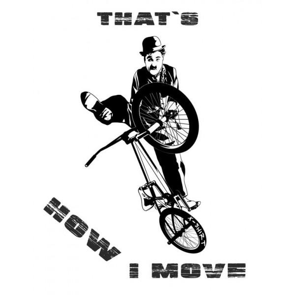 Экстремальная футболка - Чарли Чаплин на bmx - коллекция мемы от X-shirt.ru
