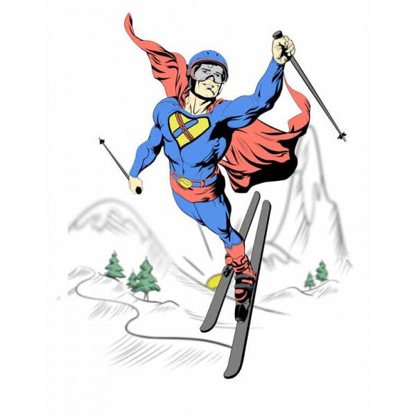 Экстремальная футболка - Супермен на горных лыжах - коллекция мемы от X-shirt.ru