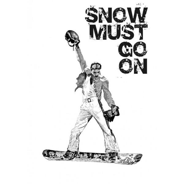 Экстремальная футболка - Snow must go on - сноуборд - коллекция мемы от X-shirt.ru
