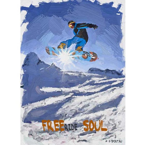 Экстремальная футболка - Сноубордист в прыжке на фоне солнца в стиле масло - коллекция масло от X-shirt.ru