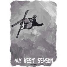 Горнолыжник в прыжке в стиле масло черно-белый