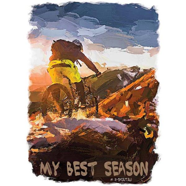 Экстремальная футболка - Велосипедист в горах на снегу в стиле масло - коллекция масло от X-shirt.ru