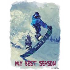 Сноубордист на склоне в стиле масло