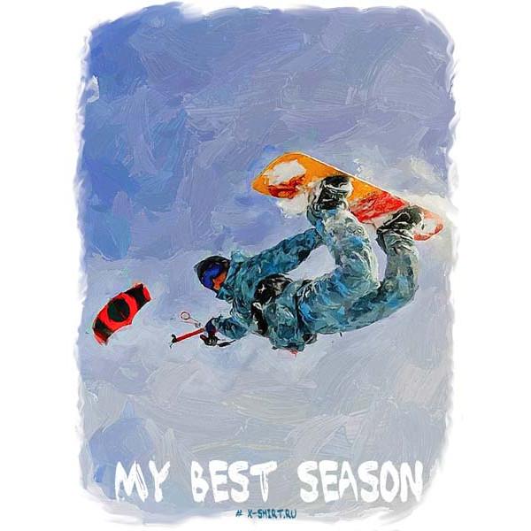 Экстремальная футболка - Сноукайтинг на сноуборде в стиле масло - коллекция масло от X-shirt.ru