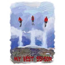 Горнолыжник в тройном прыжке в стиле масло
