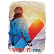 Сноубордистка на закате в стиле масло