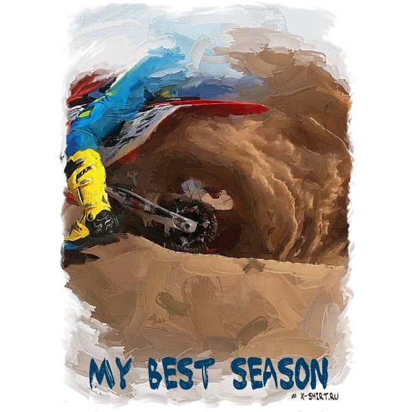 Экстремальная футболка - Мотоцикл буксует в песке в стиле масло - коллекция масло от X-shirt.ru