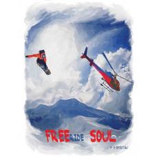 Сноубордист в прыжке на фоне вертолета в стиле масло