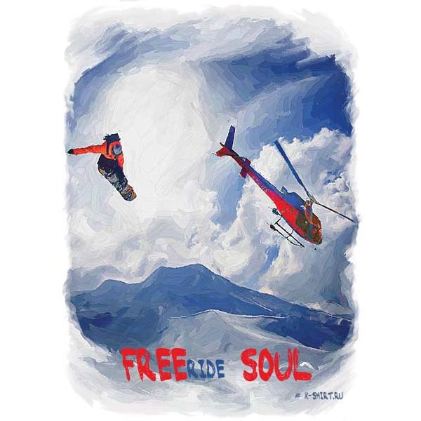 Экстремальная футболка - Сноубордист в прыжке на фоне вертолета в стиле масло - коллекция масло от X-shirt.ru