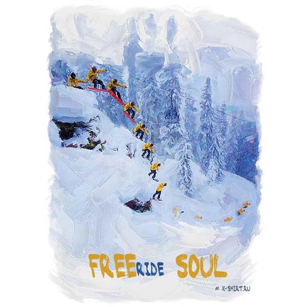 Экстремальная футболка - Сноубордист в затяжном прыжке в стиле масло - коллекция масло от X-shirt.ru