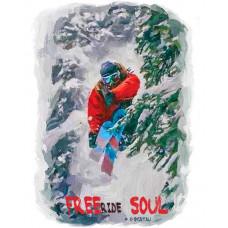 Горнолыжник в прыжке в лесу в стиле масло