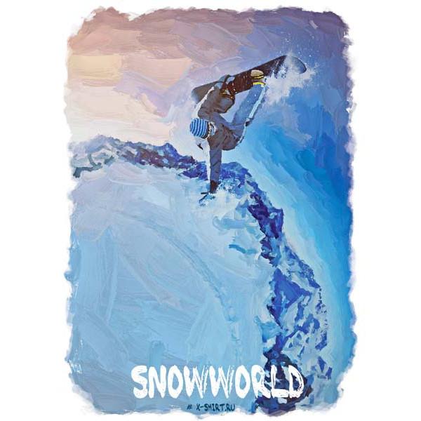 Экстремальная футболка - Сноубордист в рыбий глаз в стиле масло - коллекция масло от X-shirt.ru