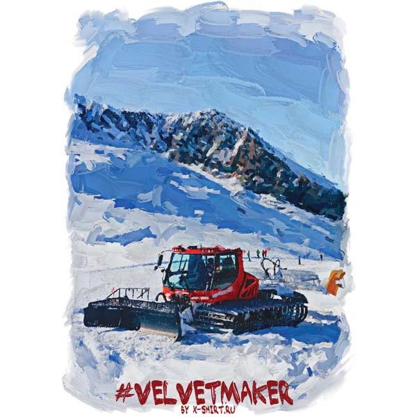 Экстремальная футболка - Красный ратрак на склоне в стиле масло - коллекция масло от X-shirt.ru