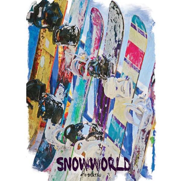 Экстремальная футболка - Сноуборды в ряд в стиле масло - коллекция масло от X-shirt.ru