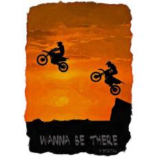 Прыжок на мотоциклах на закате в стиле масло