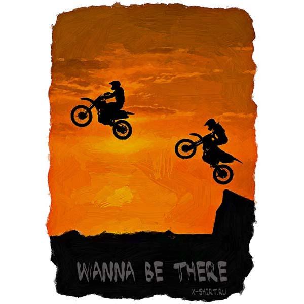 Экстремальная футболка - Прыжок на мотоциклах на закате в стиле масло - коллекция масло от X-shirt.ru