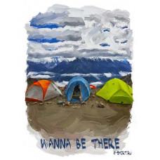 Три палатки в стиле масло