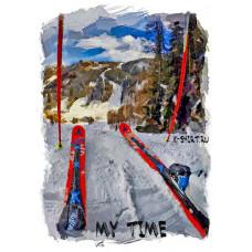 Горные лыжи перед стартом в стиле масло
