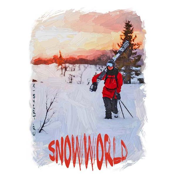 Экстремальная футболка - С лыжами на плече - коллекция масло от X-shirt.ru