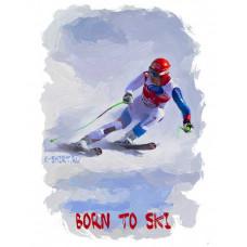 Прирожденный горнолыжник в стиле масло