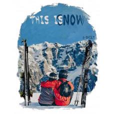 Пара горнолыжников в стиле масло