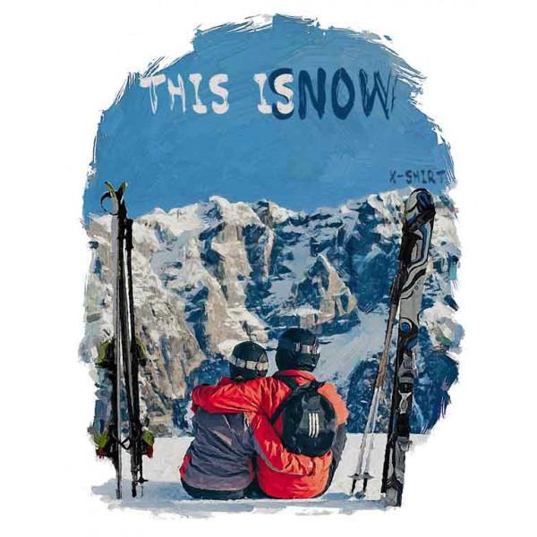 Экстремальная футболка - Пара горнолыжников в стиле масло - коллекция масло от X-shirt.ru
