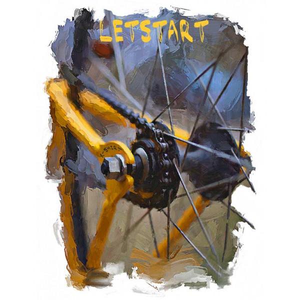 Экстремальная футболка - Letstart - велосипед - коллекция масло от X-shirt.ru
