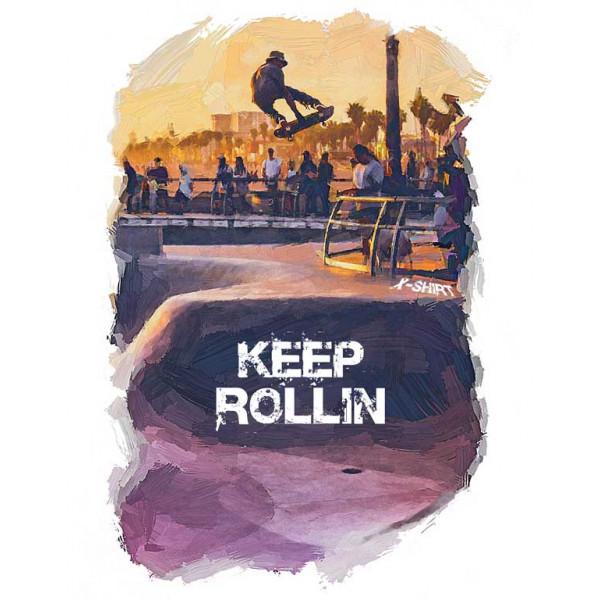 Экстремальная футболка - Прыжок на скейте в парке  - коллекция масло от X-shirt.ru