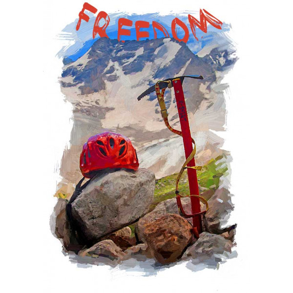 Экстремальная футболка - Свобода в горах - коллекция масло от X-shirt.ru