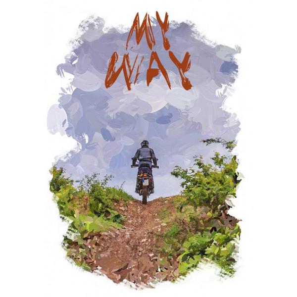 Экстремальная футболка - Путь мотоциклиста - коллекция масло от X-shirt.ru