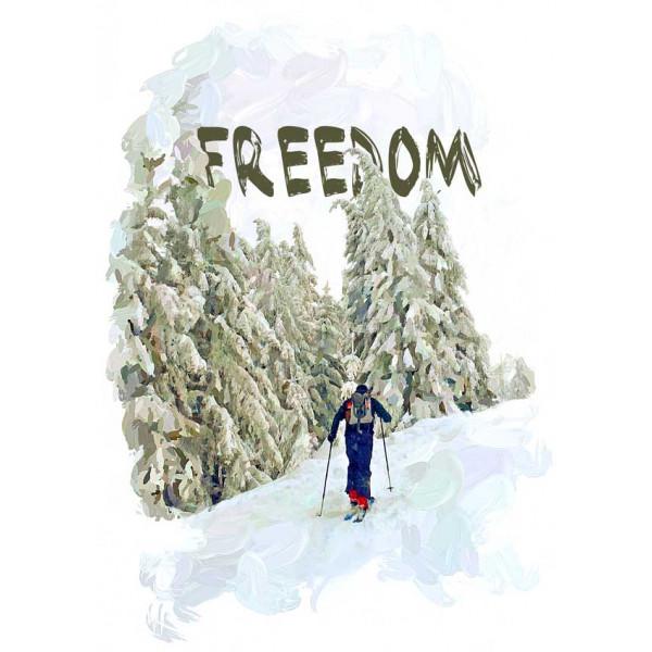 Экстремальная футболка - Скитур - свобода - коллекция масло от X-shirt.ru