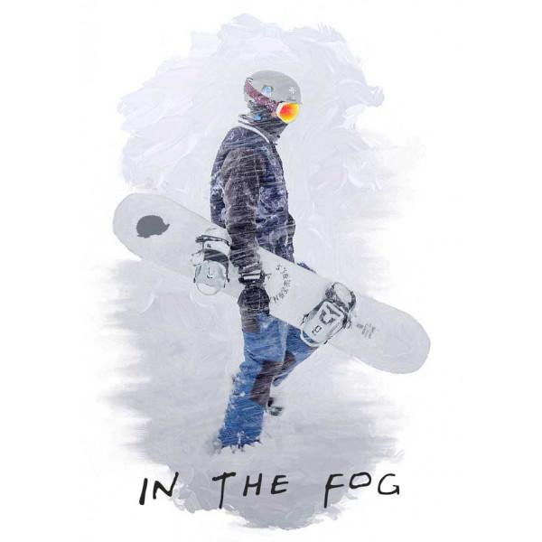 Экстремальная футболка - Сноубордист в тумане - коллекция масло от X-shirt.ru